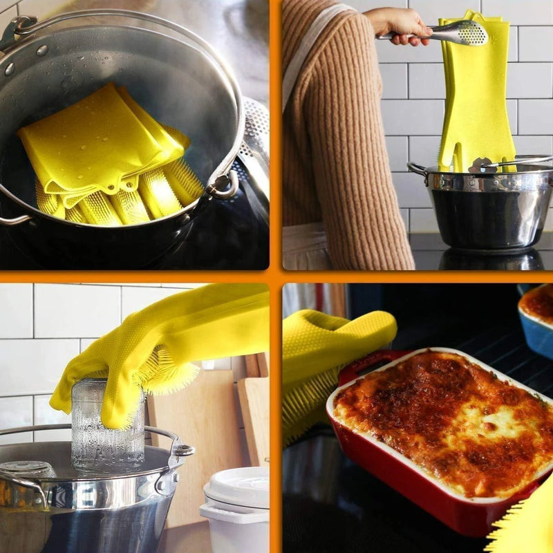 Silicon Scrubbing Sponge Gloves Dish Washing Scruves™  Household Gloves Yellow Scruves™ Hourglassify®