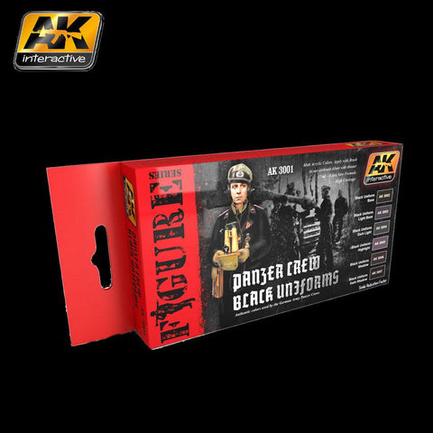AK Interactive Figure Series: Panzer Crew Black Uniforms Acrylic Paint Set (6 Colors) 17ml Bottles