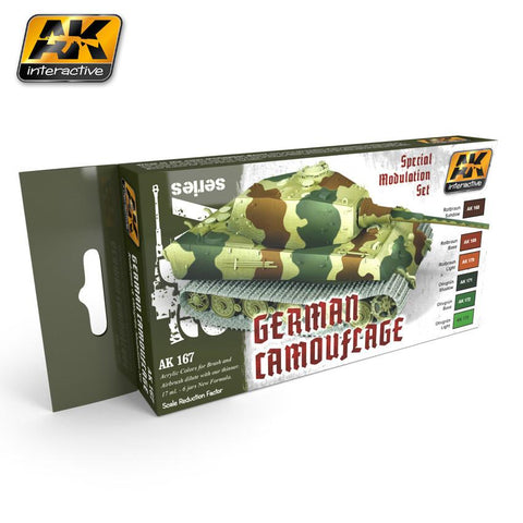 AK Interactive German Camouflage Green & Brown Modulation Acrylic Paint Set (6 Colors) 17ml Bottles