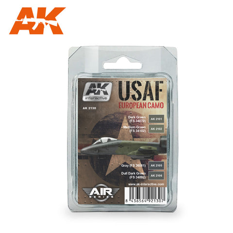 AK Interactive 	Air Series: USAF European Camo Acrylic Paint Set (4 Colors) 17ml Bottles
