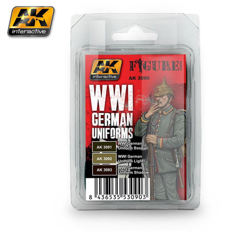 AK Interactive Figure Series: WWI German Uniforms Acrylic Paint Set (3 Colors) 17ml Bottles