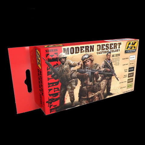 AK Interactive Figure Series: Modern Desert Uniform Colors Acrylic Paint Set (6 Colors)
