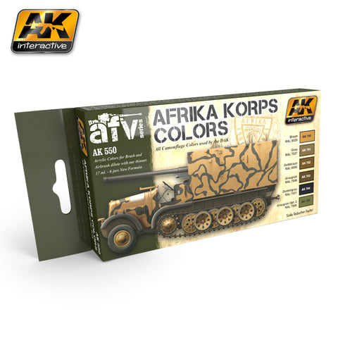 AK Interactive Afrika Korps Camouflage Acrylic Paint Set (6 Colors) 17ml Bottles