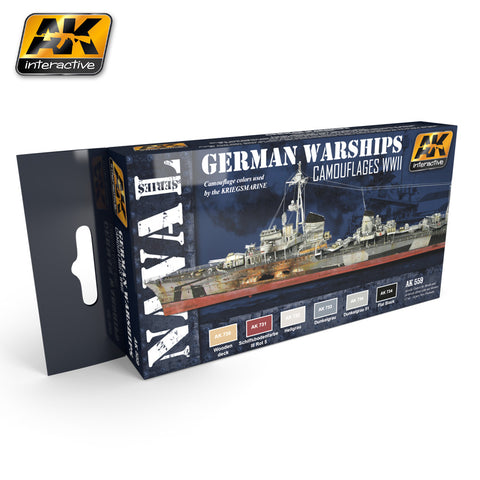 AK Interactive WWII German Warships Camouflages Acrylic Paint Set (6 Colors) 17ml Bottles