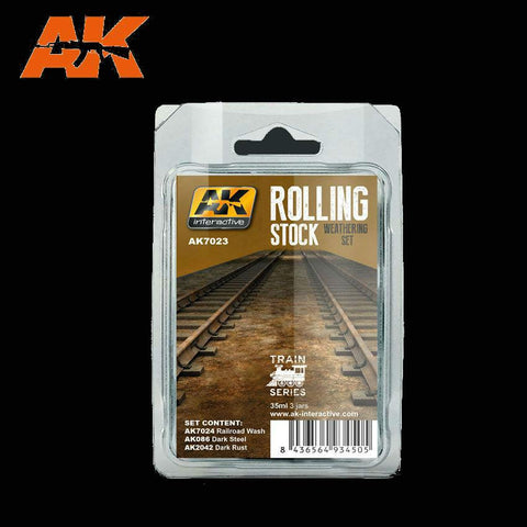 AK Interactive Trains: Rolling Stock Weathering Paint Set (3 Colors) 35ml Bottles