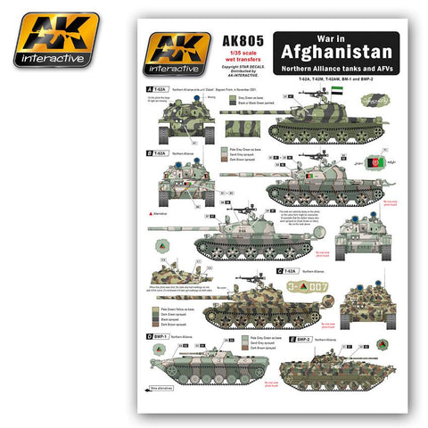 AK Interactive War in Afghanistan Northern Alliance Tanks & AFVs Wet Transfer Decals