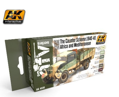 AK Interactive British Desert Colors Caunter Scheme 1940-41 Africa & Med. Acrylic Paint Set (6 Colors)