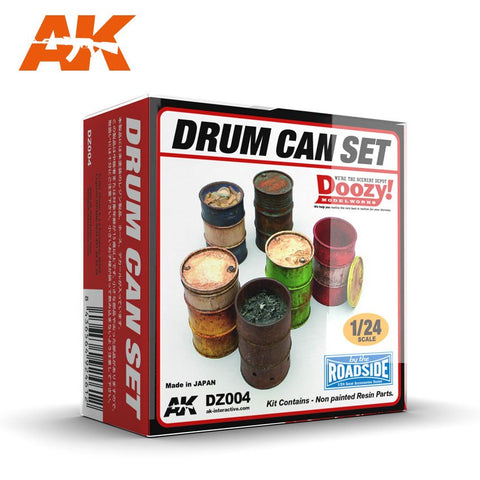 AK Interactive 1/24 Doozy Series: Drums/Barrels w/Lids (6) (Resin) Kit