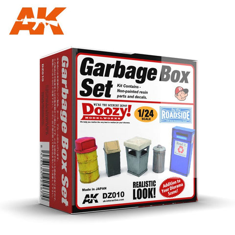 AK Interactive 1/24 Doozy Series: Garbage Cans Set (5) (Resin) Kit