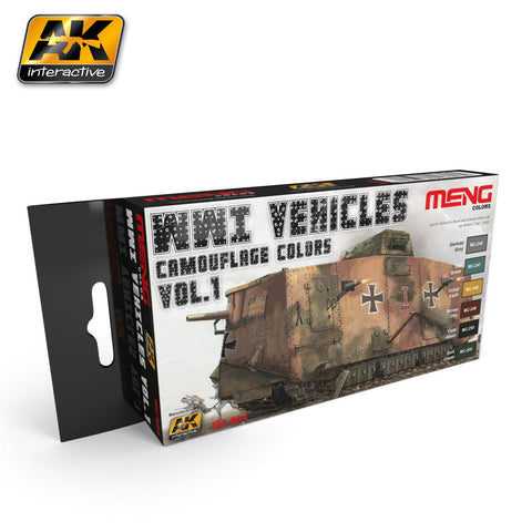 AK Interactive WWI Vehicles Camouflage Colors Vol.1 Acrylic Paint Set