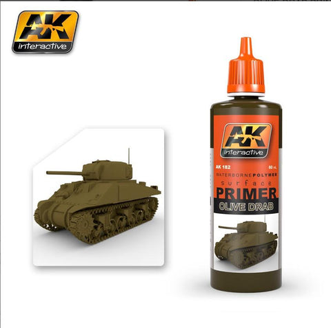 AK Interactive Olive Drab Acrylic Primer 60ml Bottle