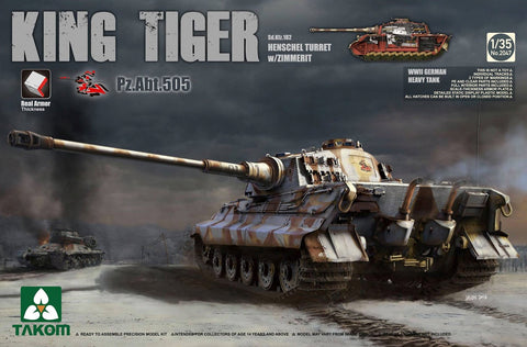 Takom 1/35 WWII King Tiger SdKfz 182 Late Production Heavy Tank (2 in 1) Kit