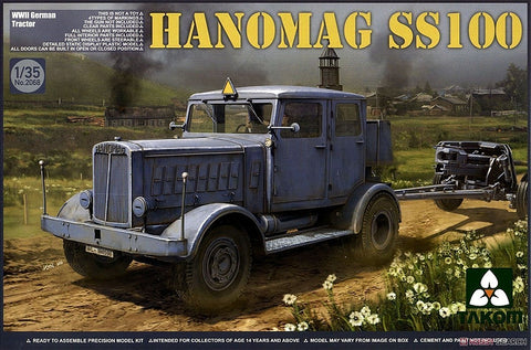 Takom Military Models 1/35 WWII German Hanomag SS100 Vehicle w/Trailer
