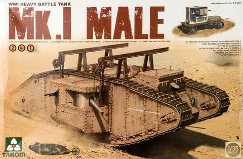 Takom Military Models 1/35 British WWI MK.I Male Tank Kit