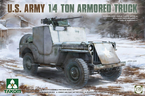 Takom Military 1/35 US Army 1/4-Ton Armored Willys Jeep Kit