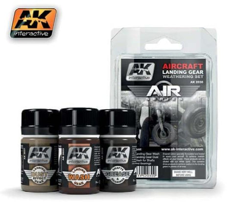 AK Interactive Air Series: Aircraft Landing Gear Enamel Weathering Set (3 Colors) 35ml Bottles