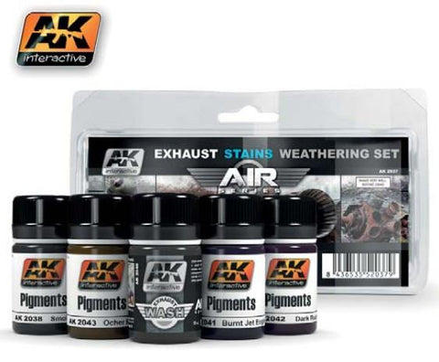 AK Interactive Air Series: Exhaust Stains Weathering Set (5 Colors) 35ml Bottles