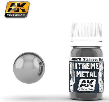 AK Interactive Xtreme Metal Stainless Steel Metallic Paint 30ml Bottle