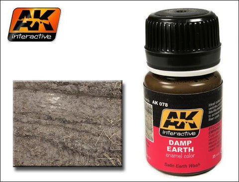 AK Interactive Damp Earth Satin Wash Enamel Paint 35ml Bottle