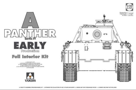 Takom Military Models 1/35 Panther A Early Prod Med Tank w/Interior