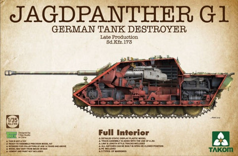 Takom 1/35 Jagdpanther G1 Late Production SdKfz 173 German tank Destroyer w/Full Interior (New Tool) Kit