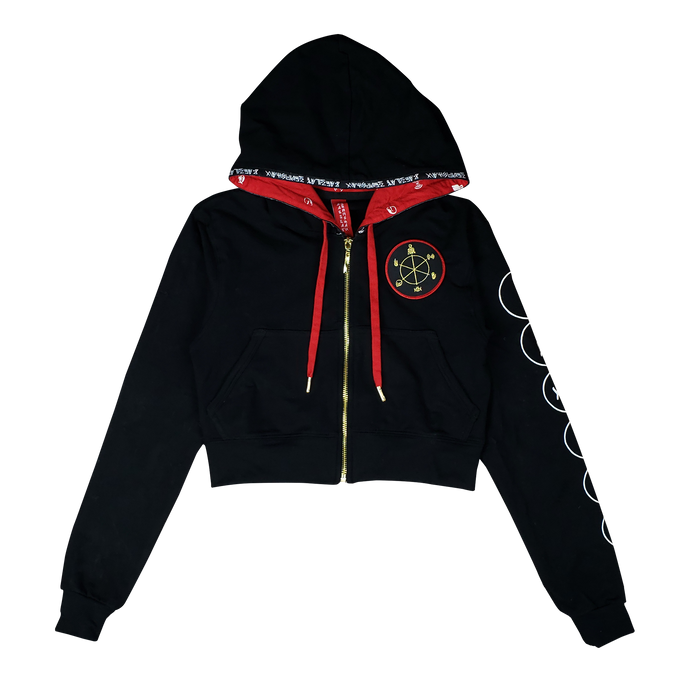 Barclay Crenshaw Six Symbols Cropped  Zip-Up Hoodie
