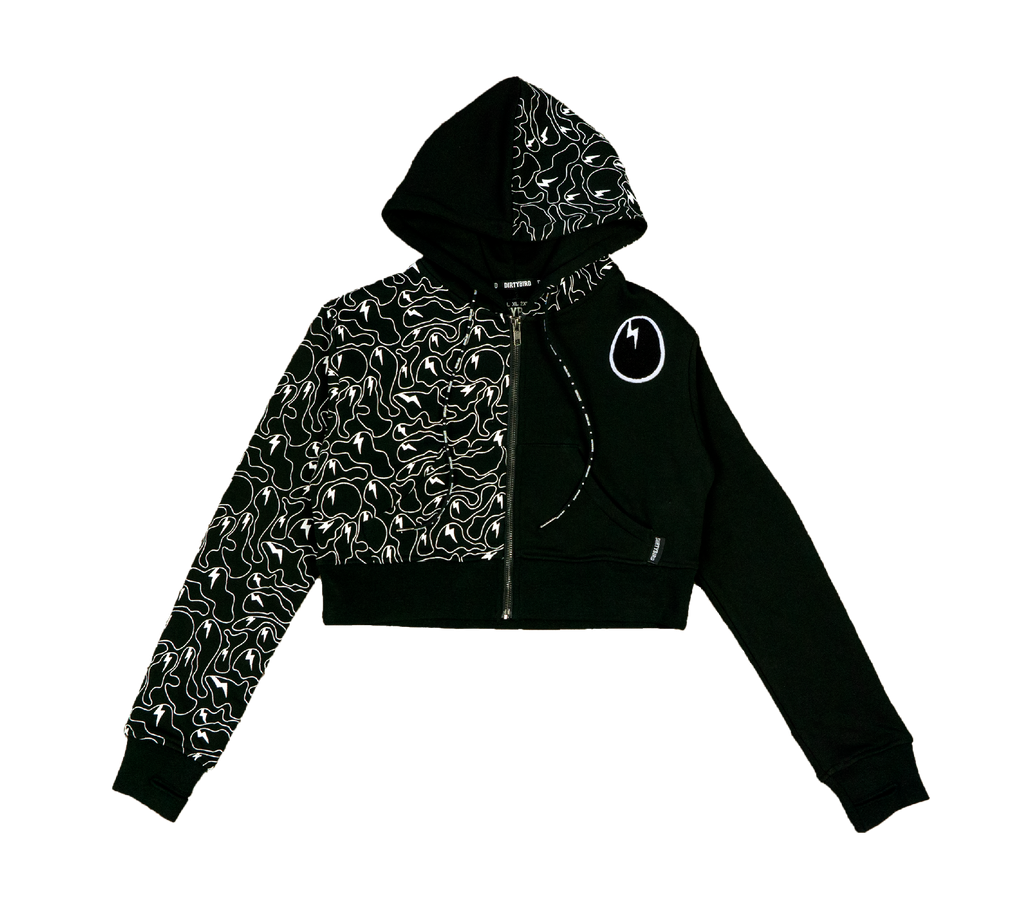 Ghost Camo Half-Print Cropped Hoodie
