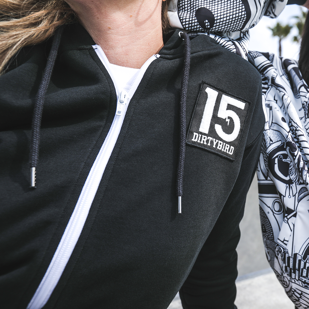 Dirtybird 15-Year Women's Black Zip Hoodie