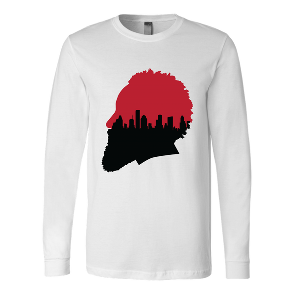 Harden Silhouette with Houston Skyline Long Sleeve Shirt