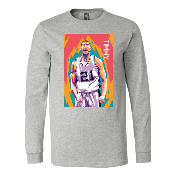 Tim Duncan Pop Art Long Sleeve Shirt