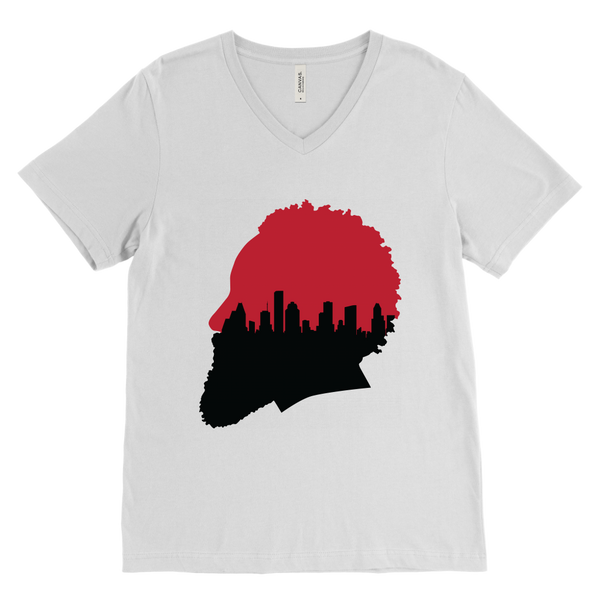 Harden Silhouette with Houston Skyline V-Neck