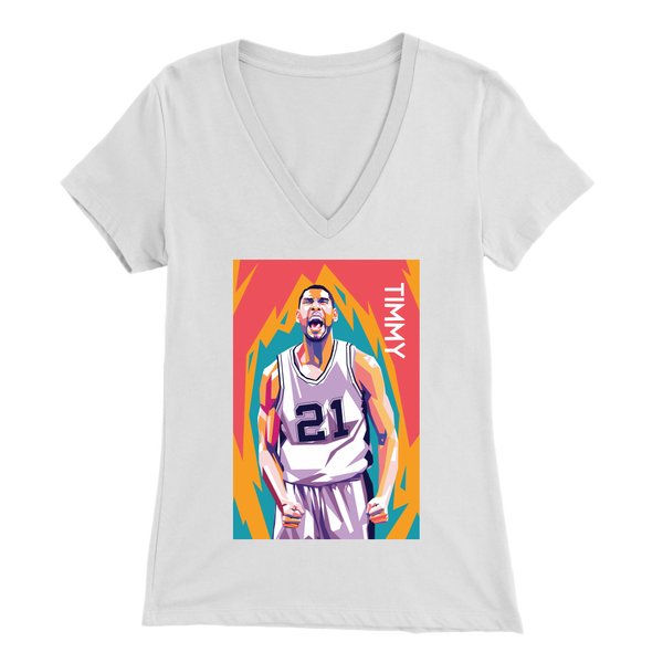 Tim Duncan Pop Art Women's V-Neck