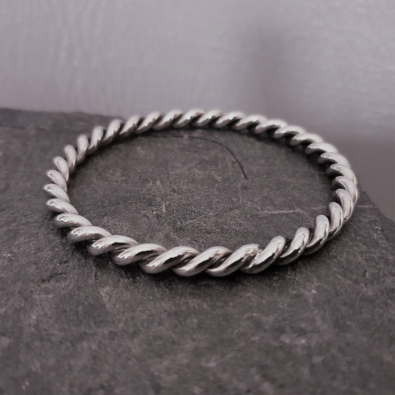 Solid Open Twist Bangle