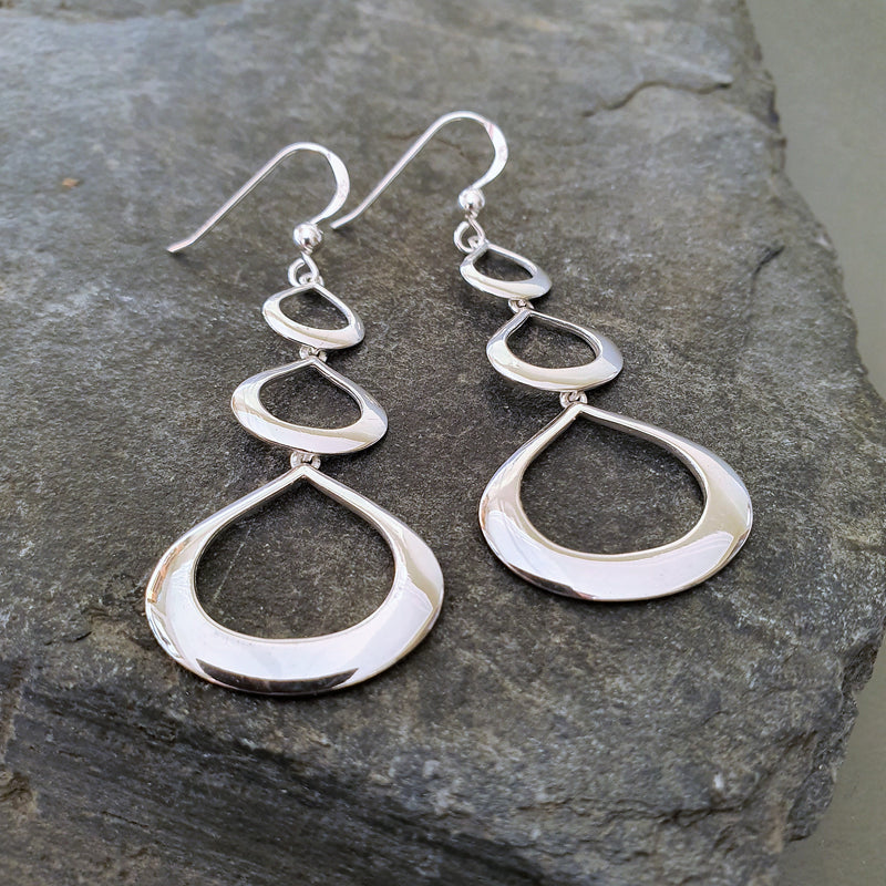 Triple Oval Drop Earrings