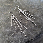 Burst Silver Drop Earrings
