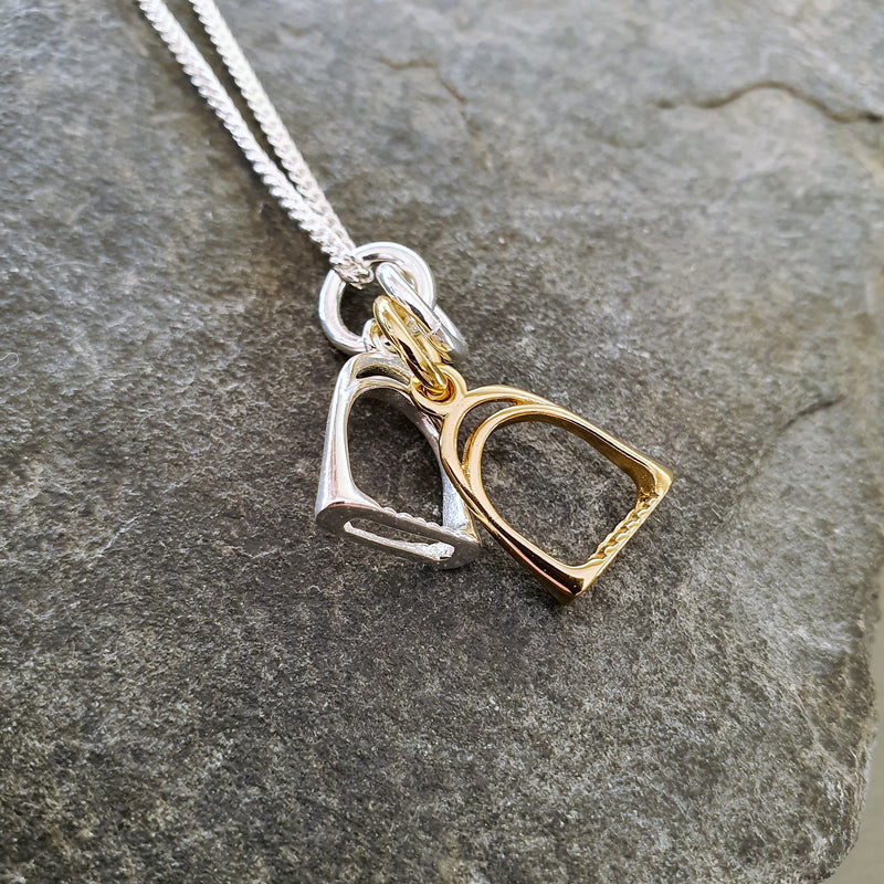 Gold & Silver Double Stirrup Pendant