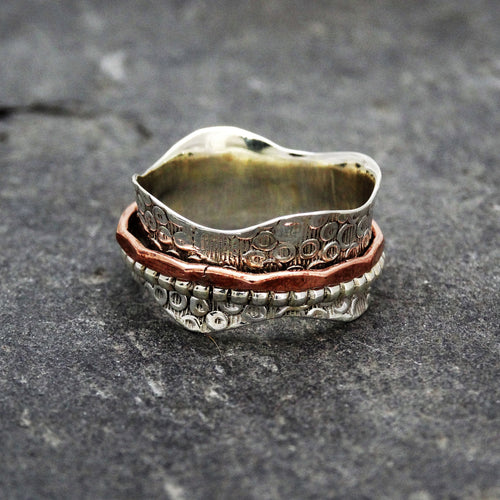 Patterned Silver Spinning Ring