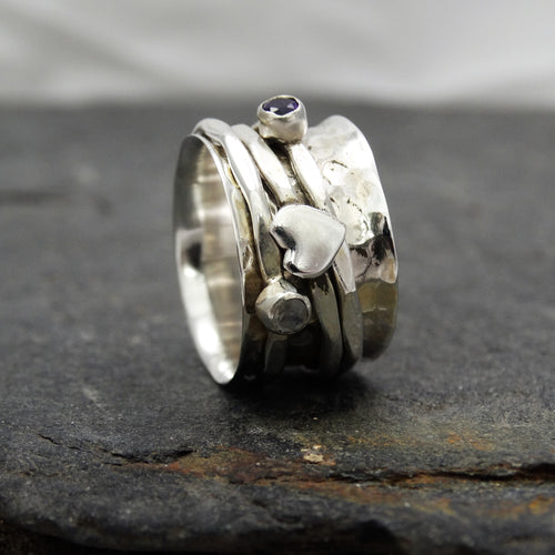 Moonstone And Iolite Spinning Ring