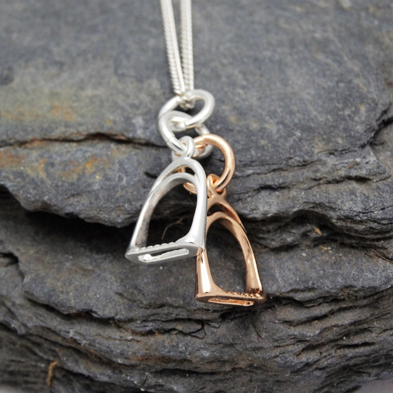 Rose Gold Double Stirrup Pendant