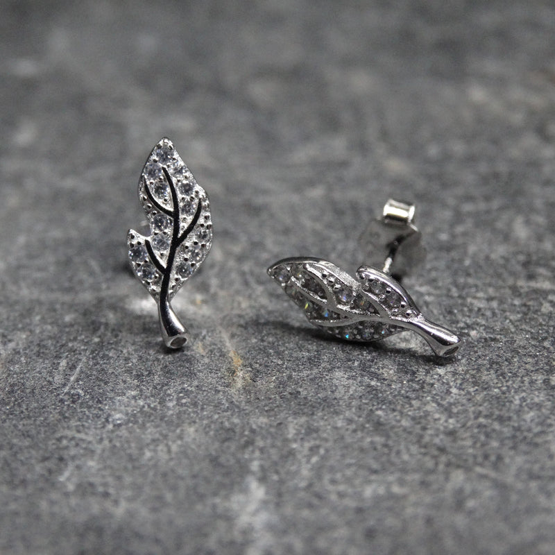 Leaf and Crystal Earrings