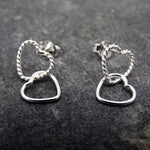 Twist and Plain Heart Drop Earrings