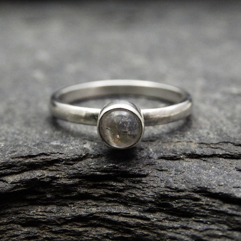 Rainbow Moonstone Single Stone Band