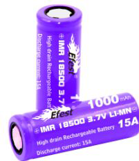 Wholesale Vapor Efest IMR purple 18500 1000mAH 15A Flat Top Battery