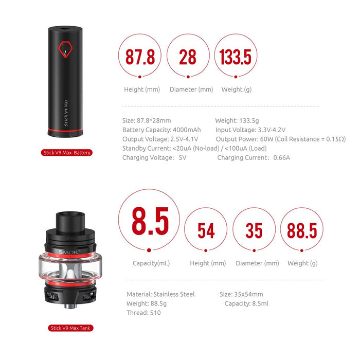 Wholesale Vapor Smoktech Stick V9 Max Specifications