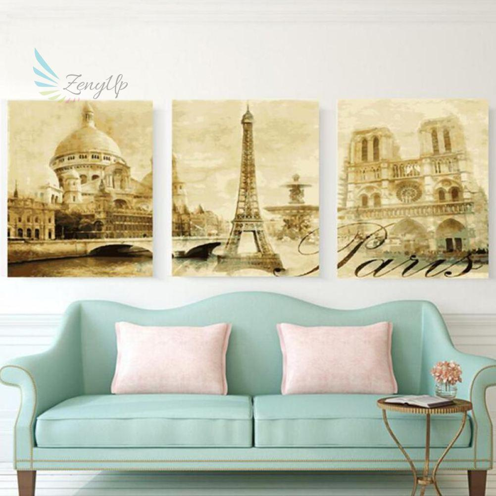 Zenyup - 3Pc/set Paris Street Diy Painting By Numbers Home Wall Art ...
