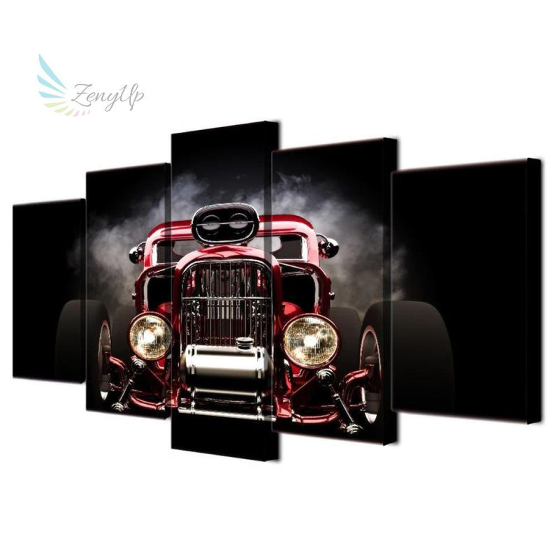 Zenyup - 5 Pieces Wall Art Hot Rod Red Front View – ZenyUp Wall Art