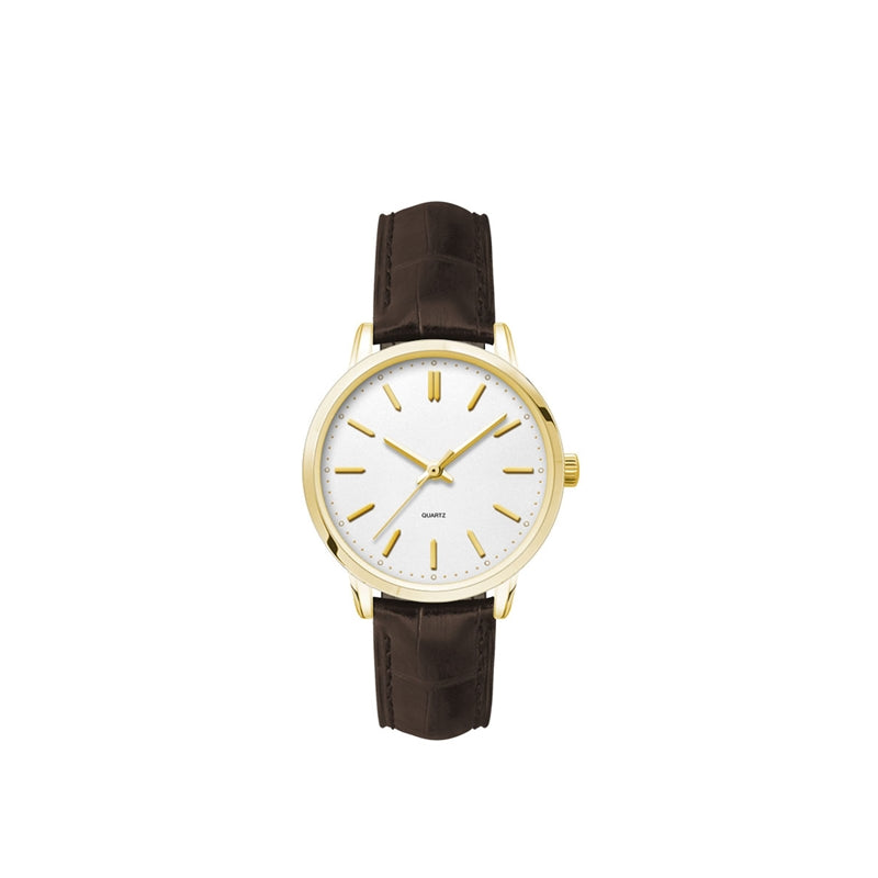 Womens Gold Plated Metal Case 3-Hand Movement Watch