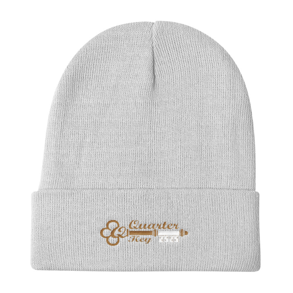 White and Gold Beanie