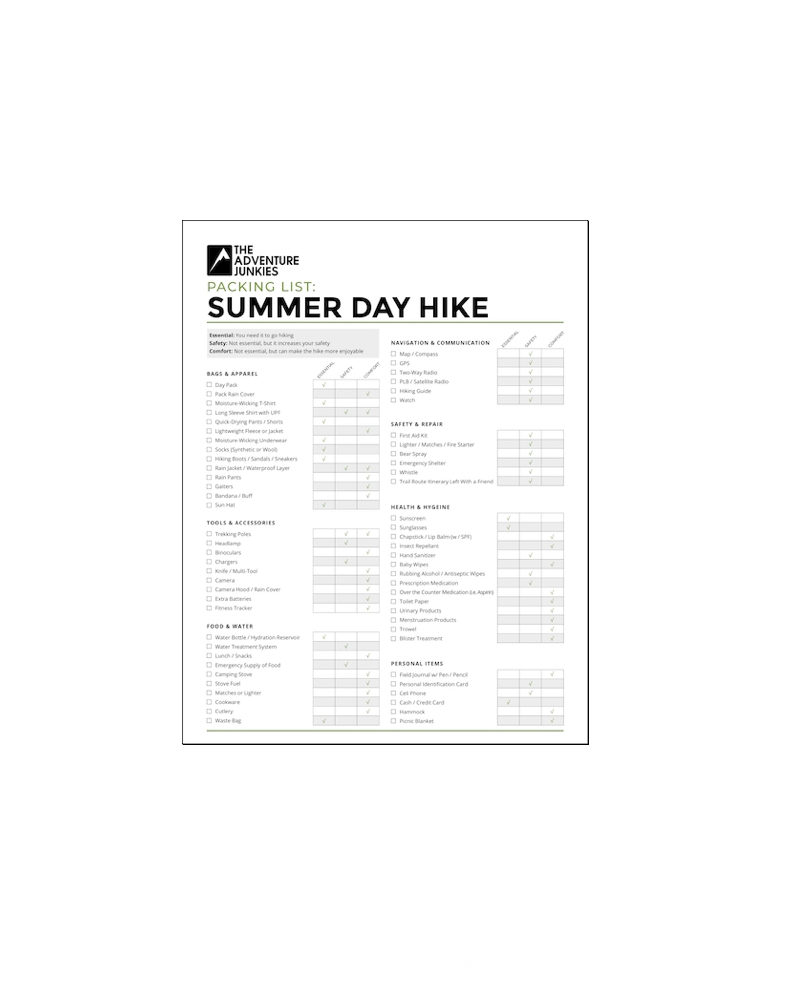 Summer Day Hike Checklist