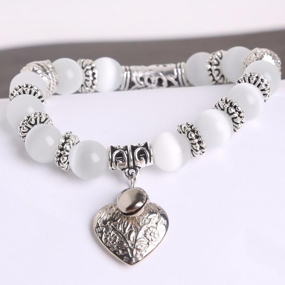 Cat Eye Bead Heart Bracelet - HYGO Shop